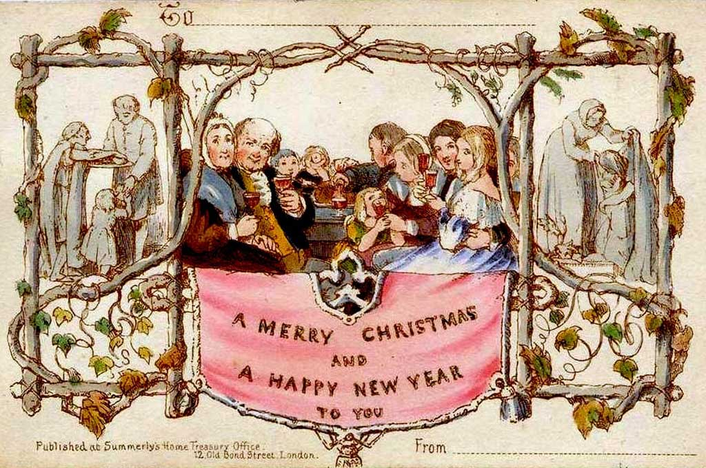 The very first Christmas card from 1843 by John Horsley and Henry Cole