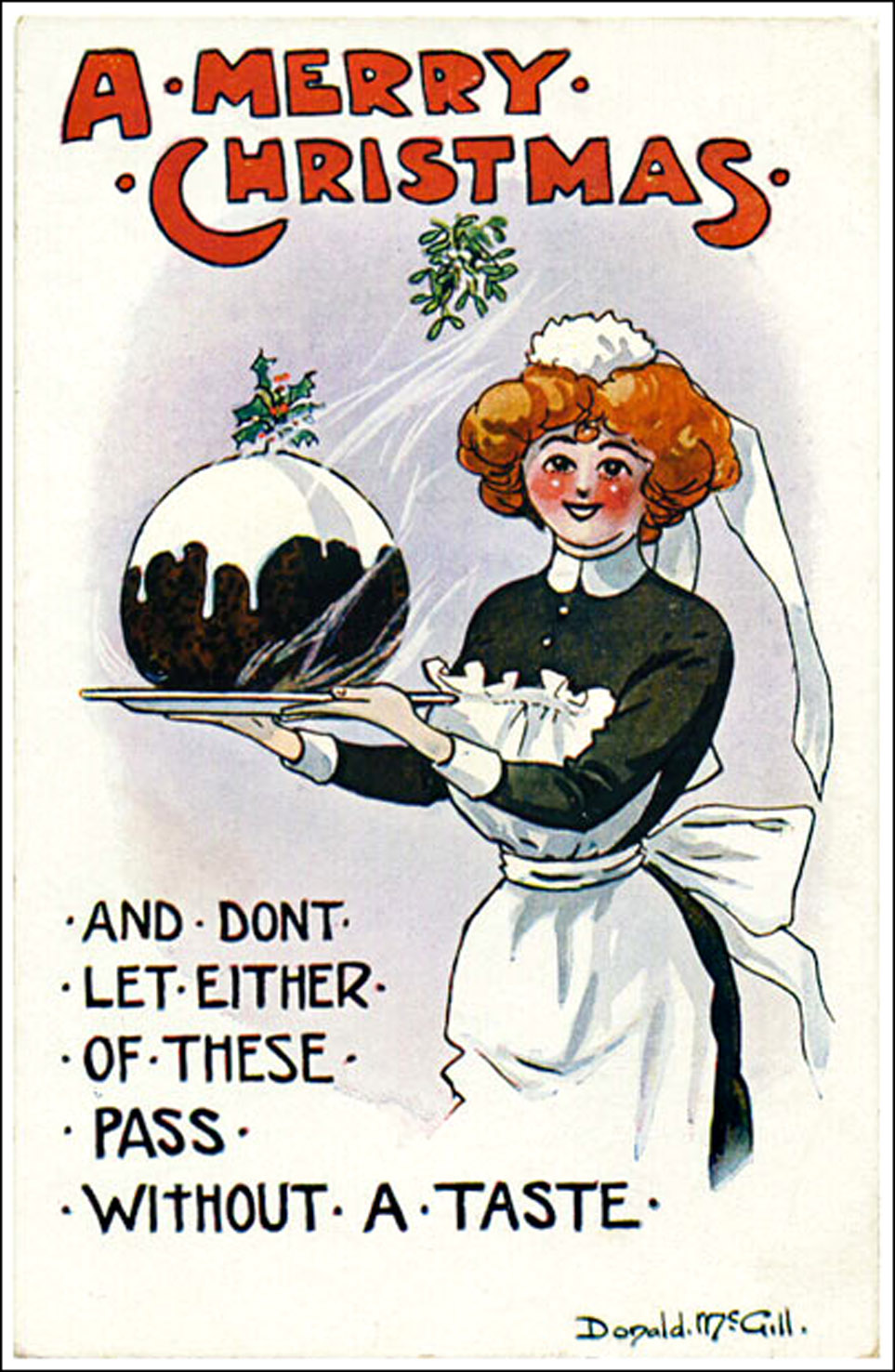 Don't let these pass without a taste - saucy Christmas card by Donald mcGill