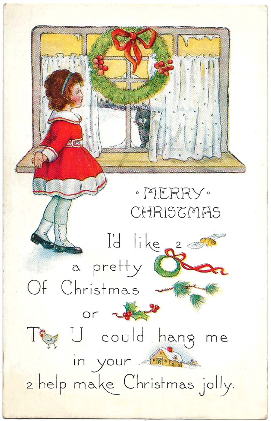 Christmas rebus card by Whitney 1923