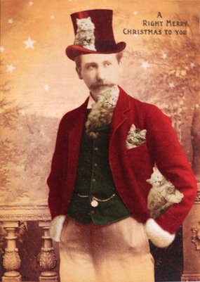 Man with kittens all over - funny vintage Christmas card
