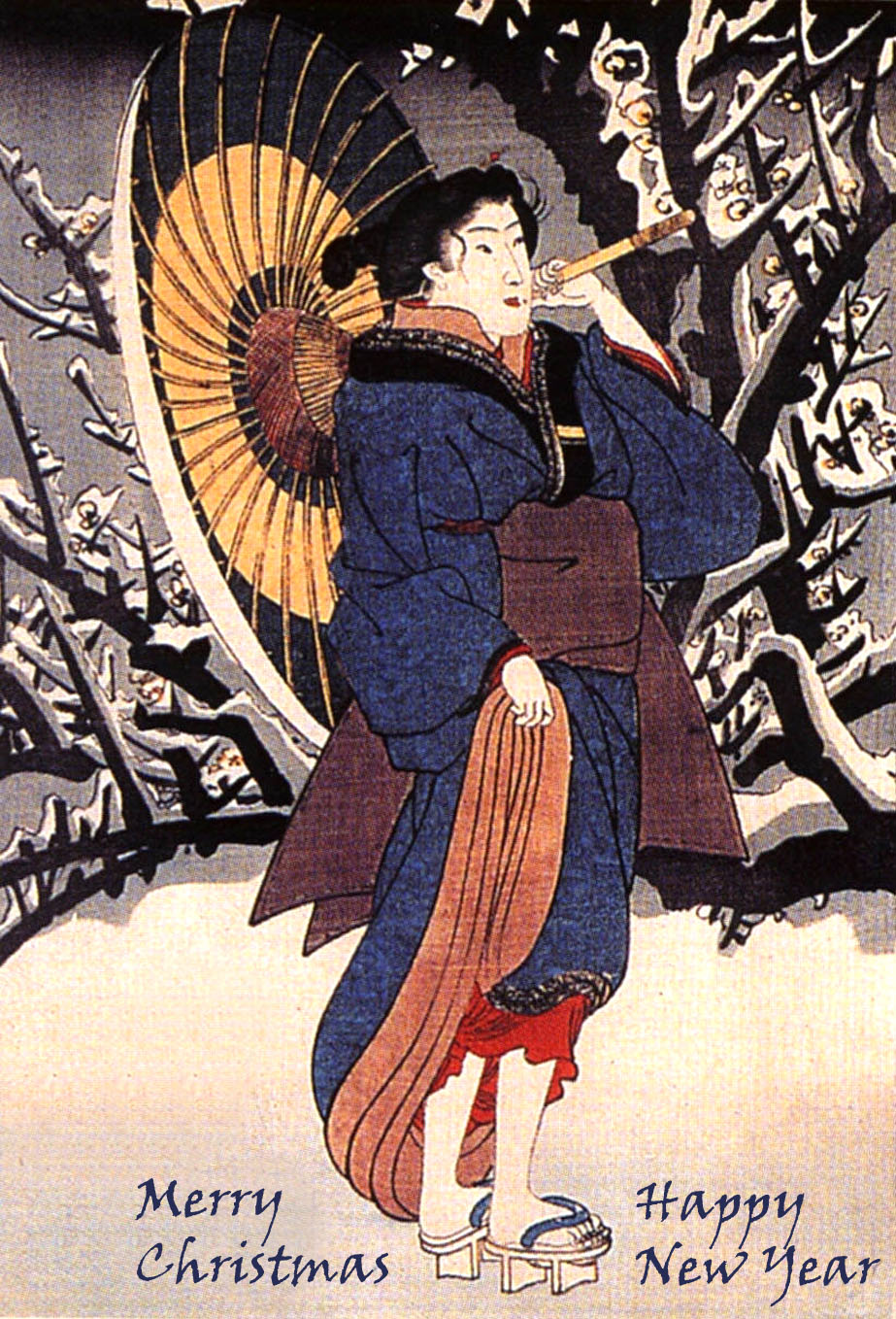 Japanese woman with umbrella in snow by Kuniyoshi Utagawa - Christmas and New Year card