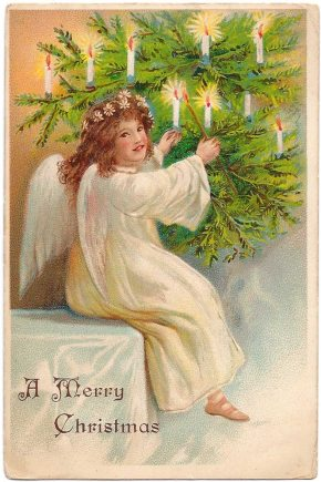 Angel lighting candles on a Christmas tree postcard from 1909