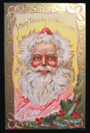 Funny face of Santa Claus - vintage Xmas greeting card