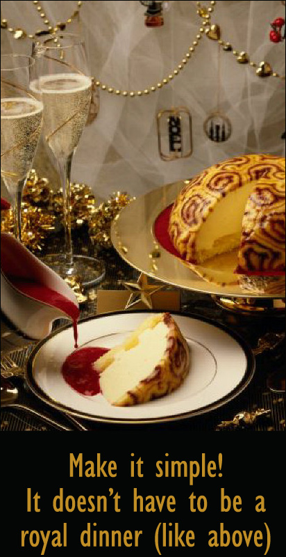 Make your Chrismas dinner simple. Picture of Chrismas dinner scene with Christmas cake.