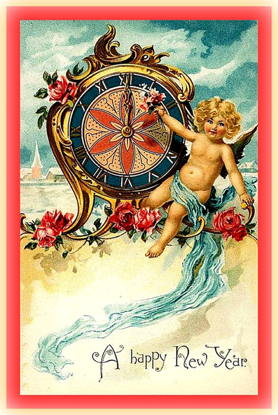 Colorful New Years vintage Card: Little angel in front of old clock.