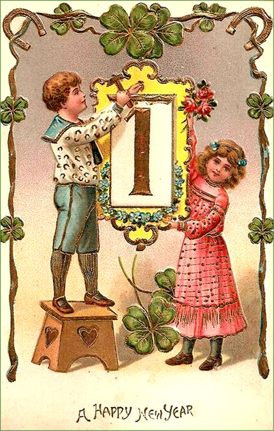 Vintage card: Little girl and boy with a January first picture.