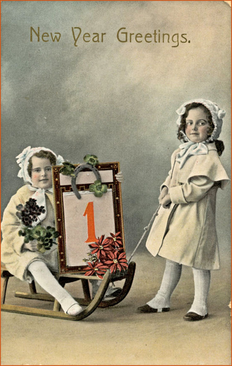 Two sweet girls in vintage New Year greeting card.