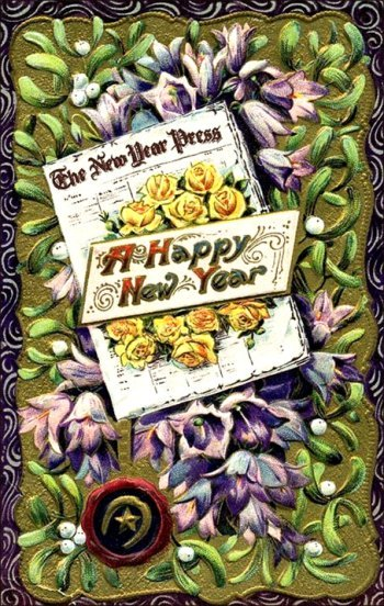 Old colorful postcard for New Year's: Newspaper and flowers.
