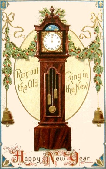 Vintage New Year Postcard of old grandfather clock.