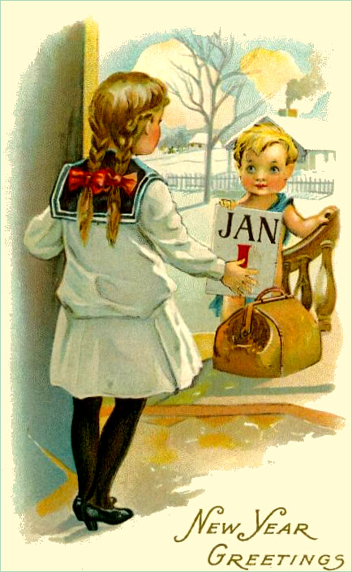 Happy New Years Vintage Postcard: Girl opening door for little boy with calendar leaf.