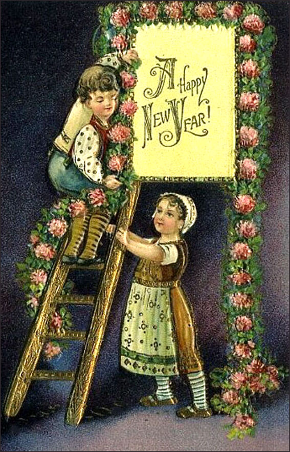 Vintage cards like this one with little boy on ladder setting up a sign with Happy New Year.
