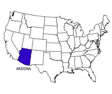 USA map with Arizona highlighted