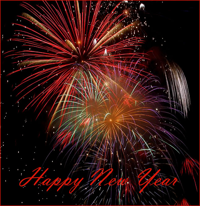 Fantastic New Year card with pretty colorful fireworks.