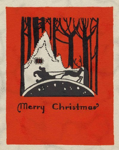Christmas cards to print - vintage postcard, Santa Claus, silhouette, sleigh, forest