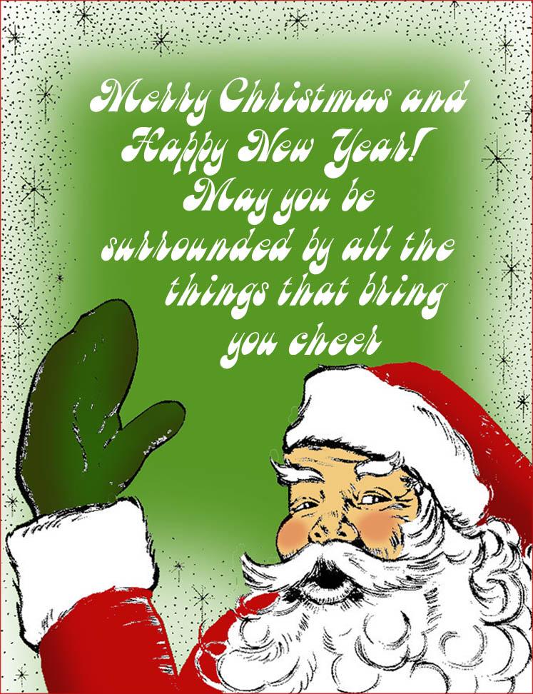 Christmas greeting card with happy Santa waving.