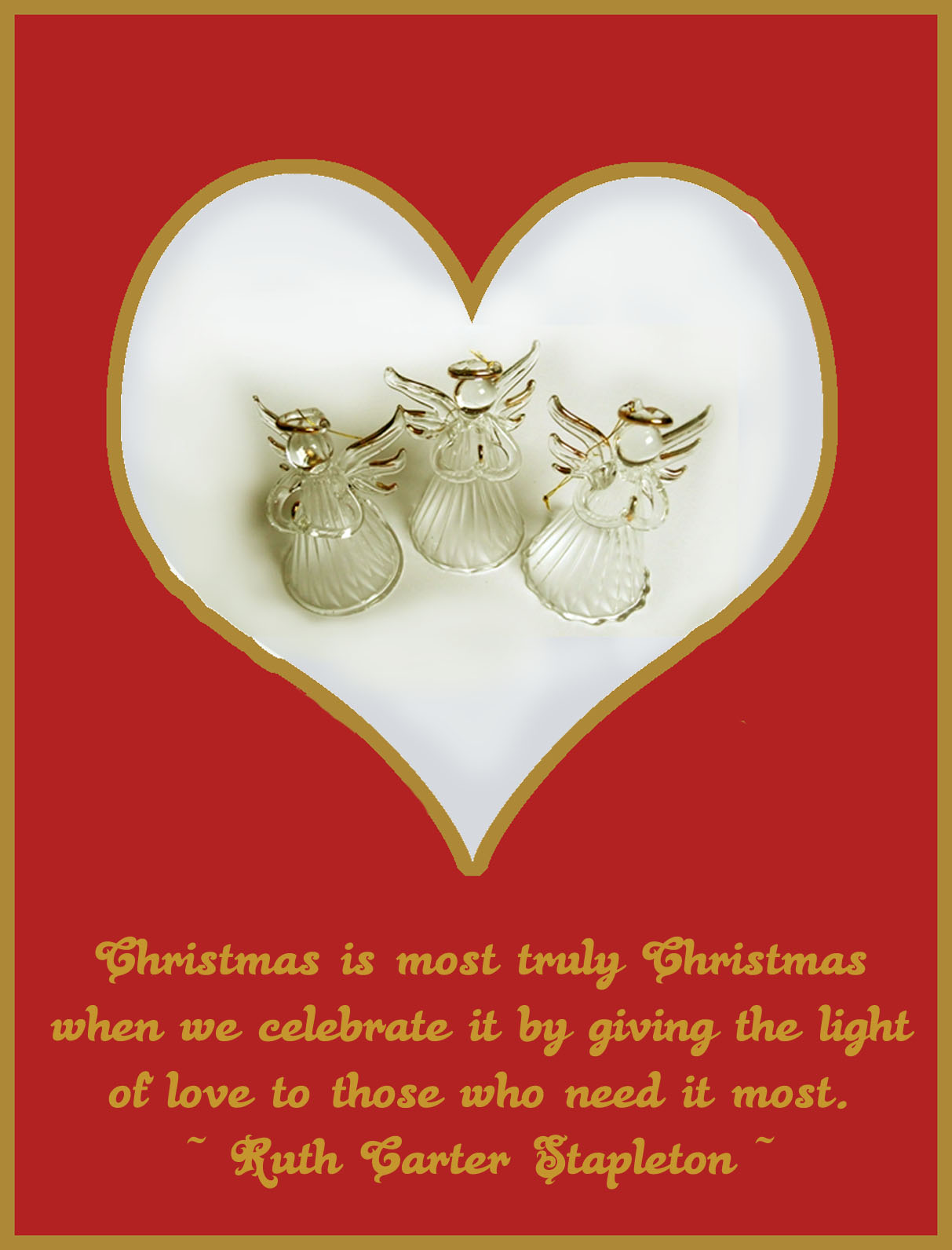 Printable Christmas card with glass angels in a heart and a quote of love.