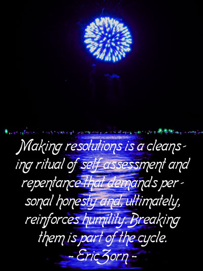Funny New Year quote by Eric Zorn. Picture of blue fireworks by the sea.