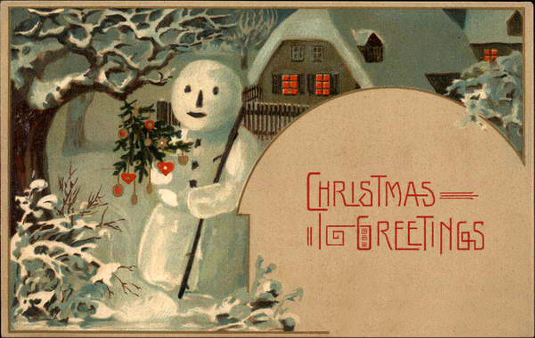 Vintage christmas postcard of a snowman in a garden