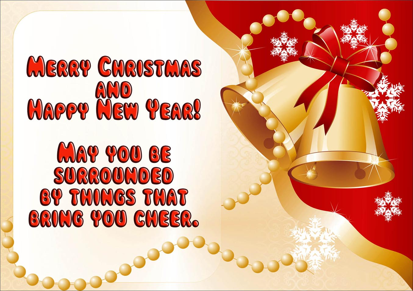 Red modern christmas card with golden bells and a greeting