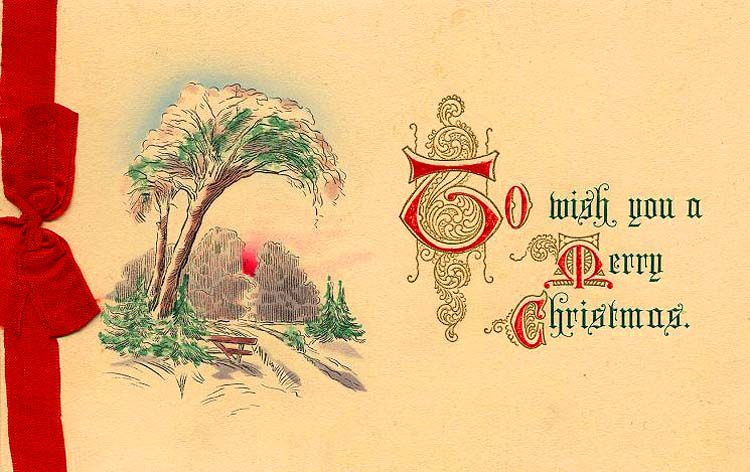 Christmas Vintage postcards, yellow, red ribbon, winter landscape drawing, old postcards, 1913