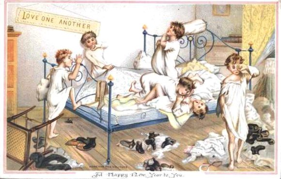 Boys in bedroom 1881 - No 02 in series of four amusing vintage Christmas cards