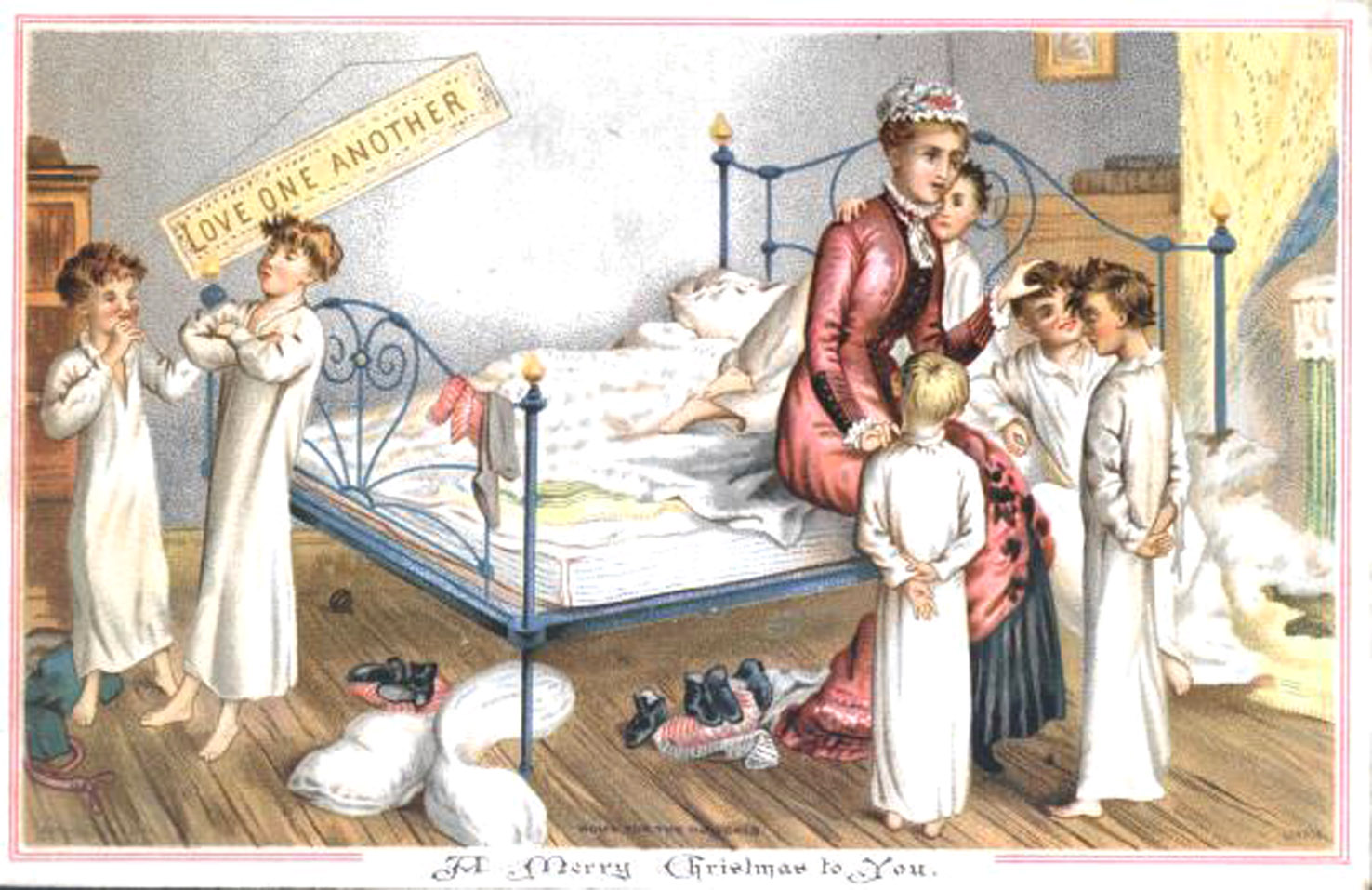 Boys in bedroom 1881 - No 04 in series of four amusing vintage Christmas cards