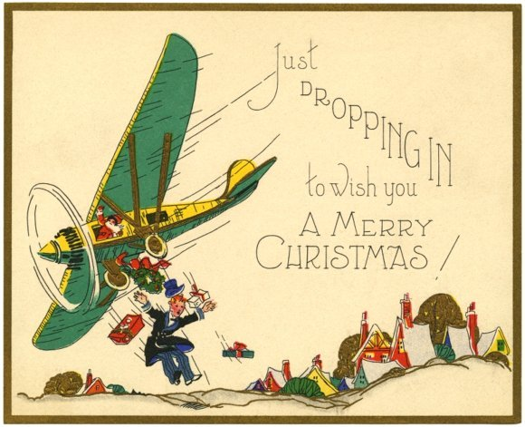 Man just dropping in ... from airplane - funny vintage Christmas card