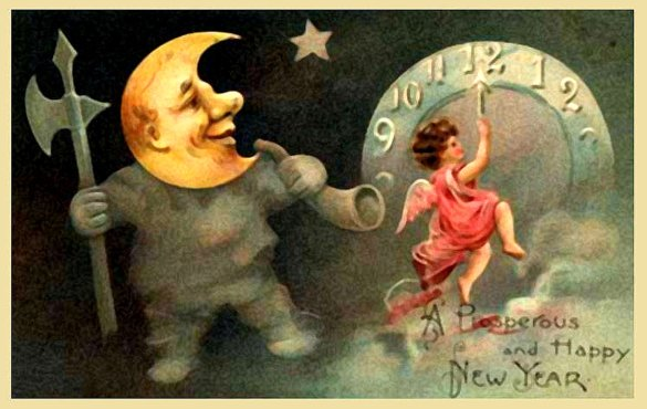 Old style picture with moon man and angel setting the clock on New Years eve.