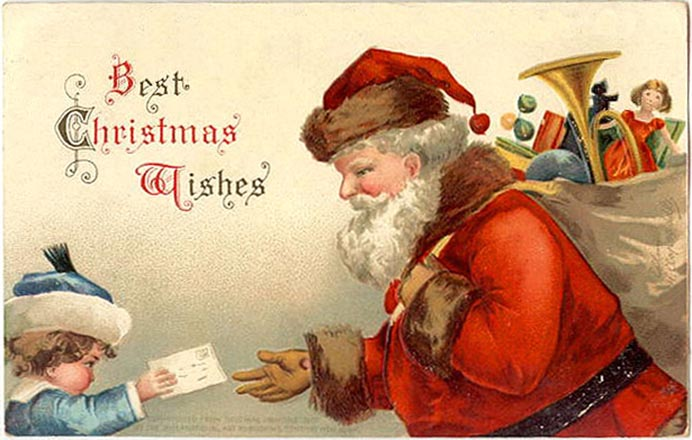 Vintage postcard by Ellen Clapsaddle, child, Santa Claus, letter