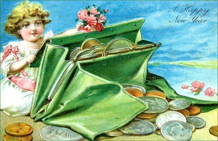 Colorful Vintage New Years Card: Little girl behind green purse with silver and gold coins.