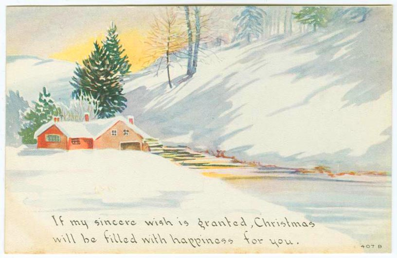 Christmas vintage postcard, painting or house, river, snow