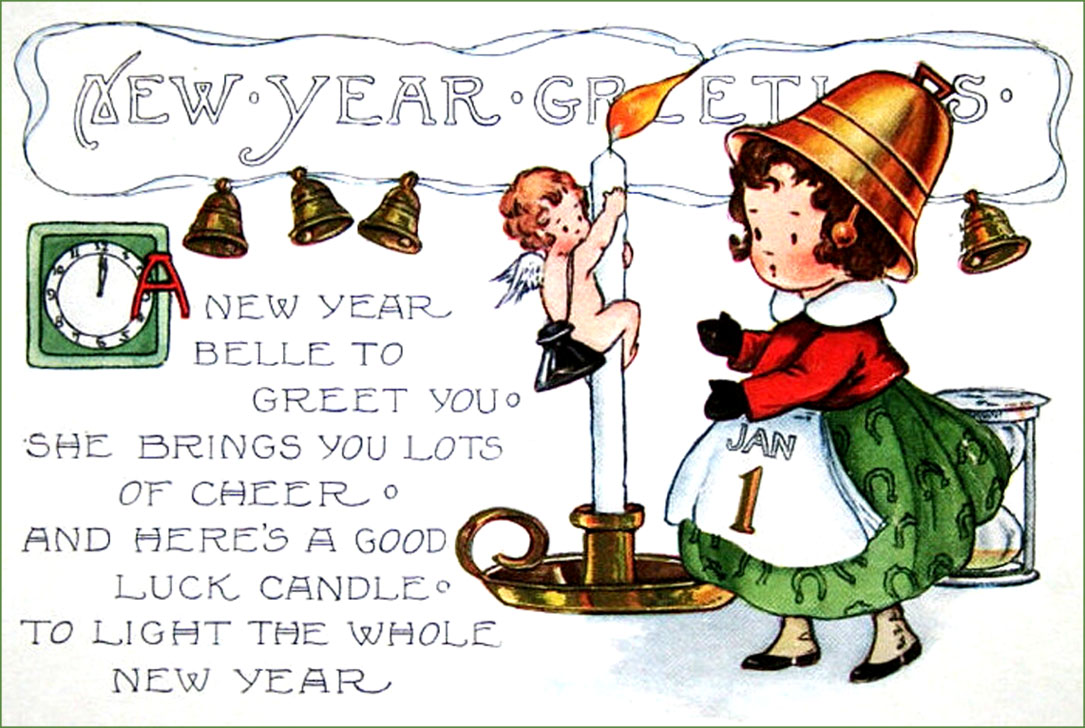 Vintage New Year postcards: Little girl with bell hat and sweet New Years poem.