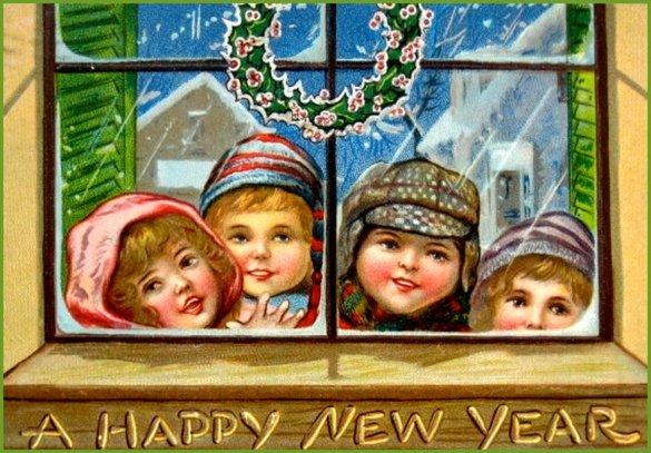 Vintage greeting card: Four children looking in through window.
