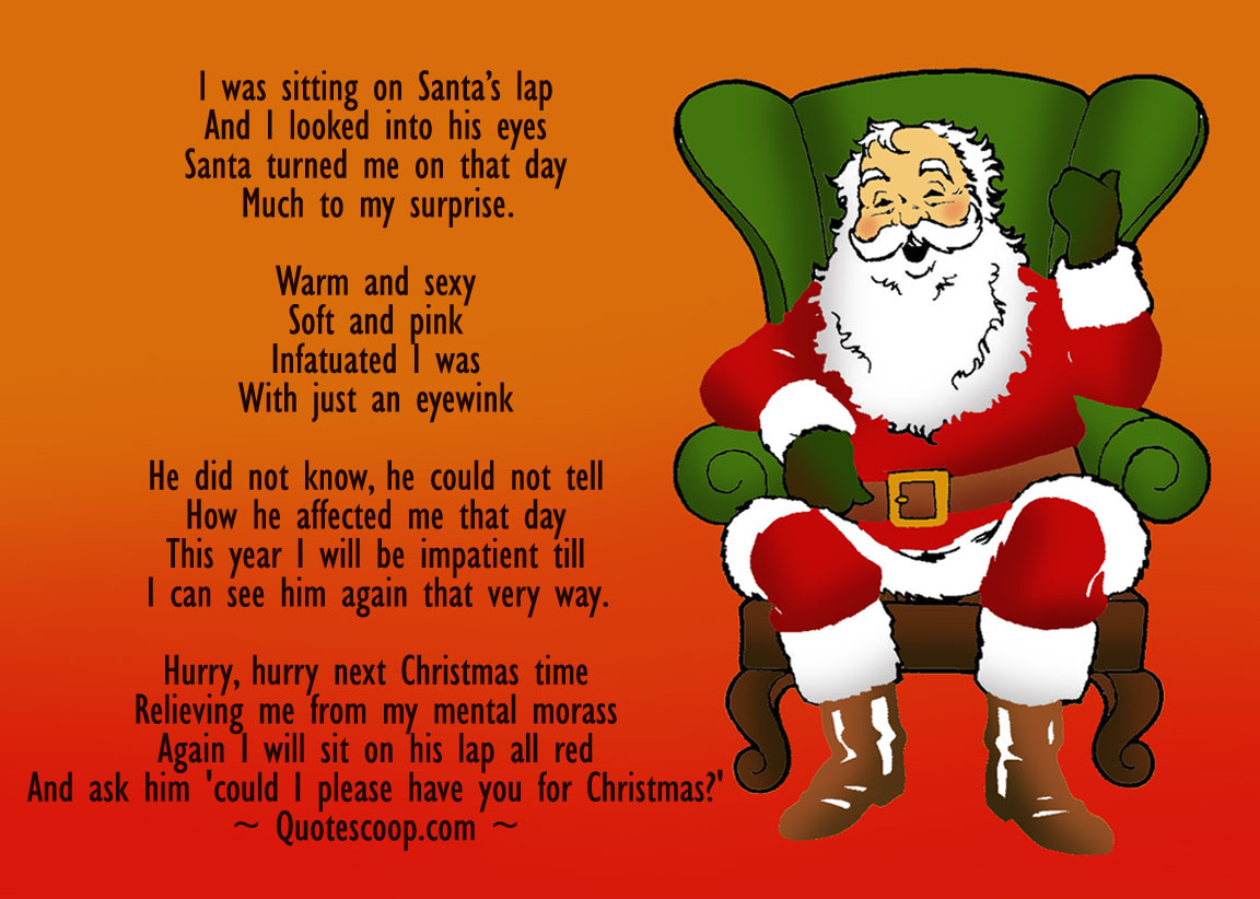 Christmas poem with a sexy santa in a chair. Can also be used as a Christmas card.