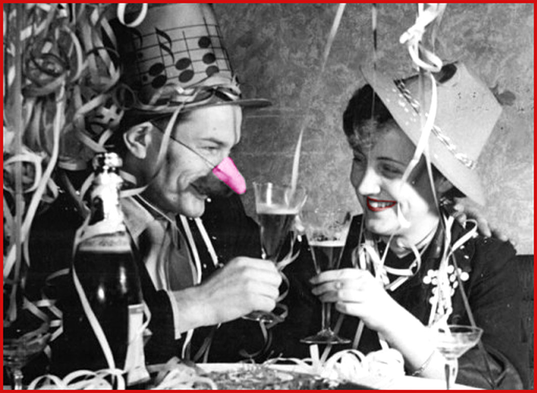 Old New Years Eve party photo of man and woman.