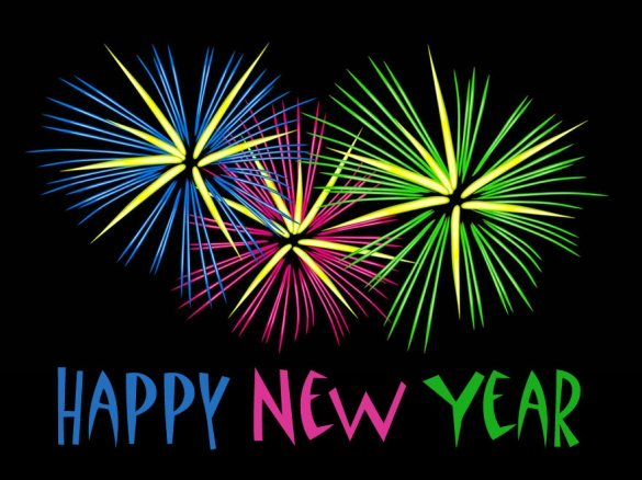 Modern New Year postcard: drawing of colorful firework in blue, green and pink.