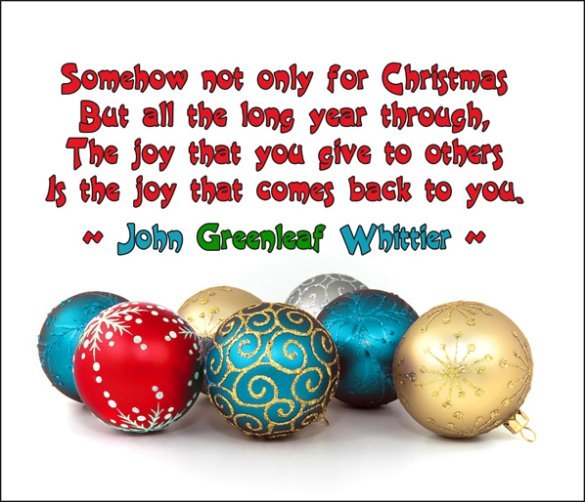 Modern Christmas postcard with Christmas balls in many colors and a quote.