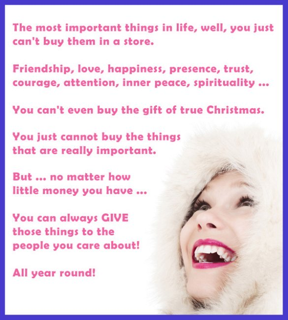Woman in white on Christmas card with important life rules.