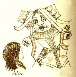 Alice in wonderland - queen of hearts drawing by Lewis Carrol himself