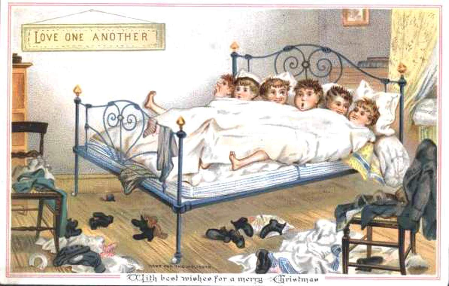 Boys in bedroom 1881 - No 01 in series of four amusing vintage Christmas cards