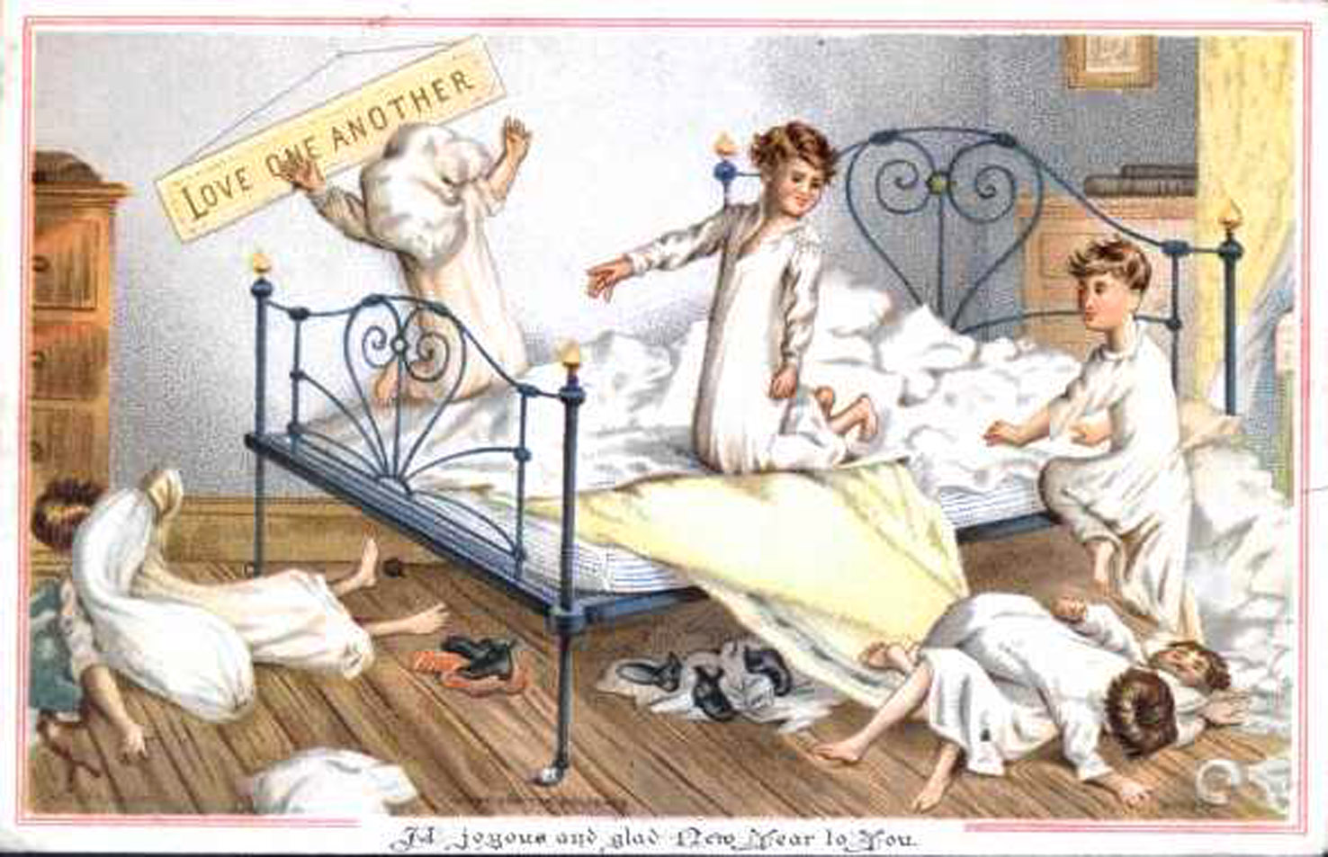 Boys in bedroom 1881 - No 03 in series of four amusing vintage Christmas cards