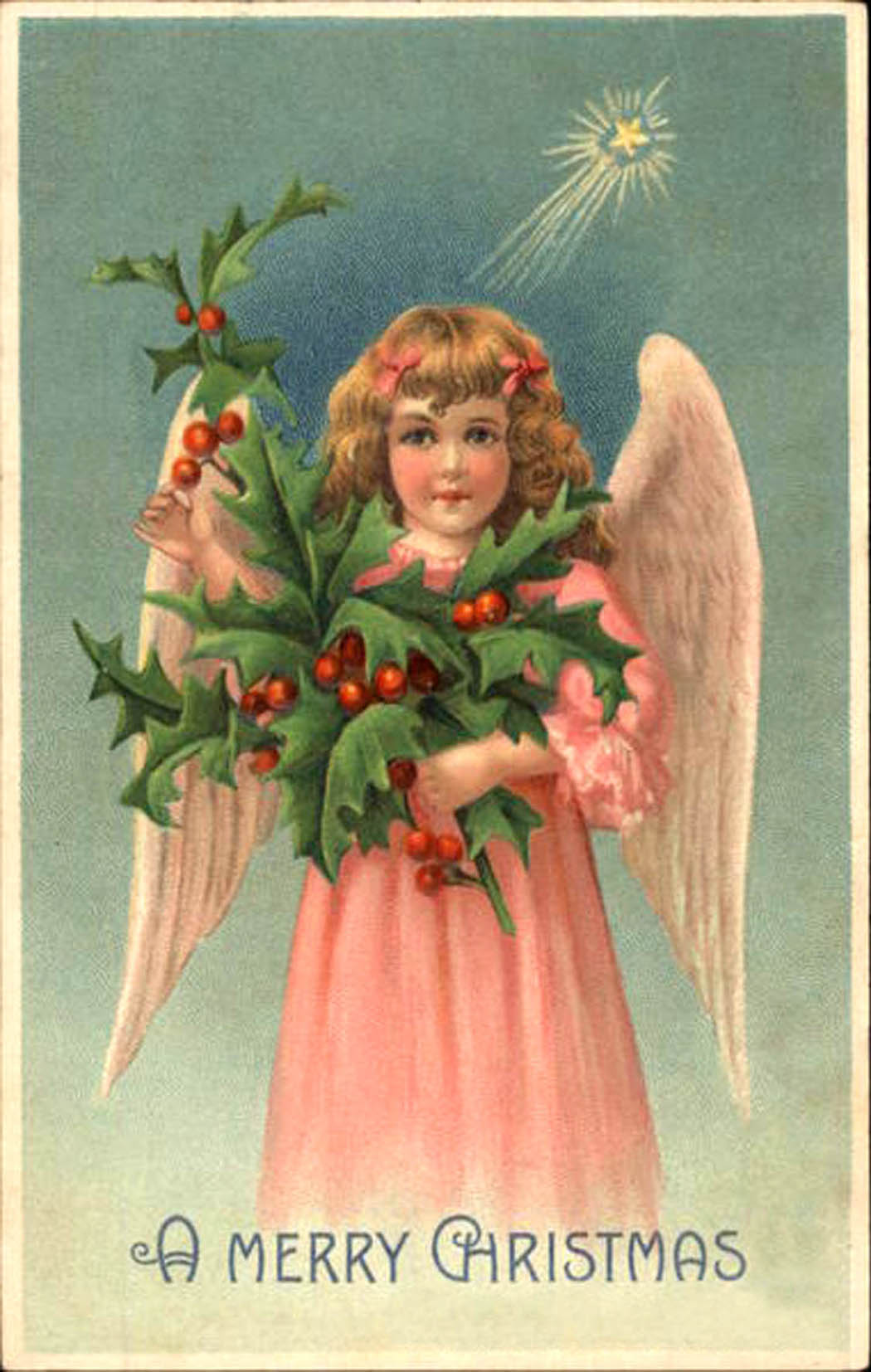 Card of an angel girl in pink dress holding a holly branch and star shining down from above