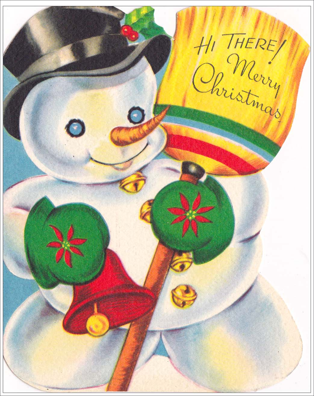 Christmas card showing a happy snow man with a hat and broom with greeting