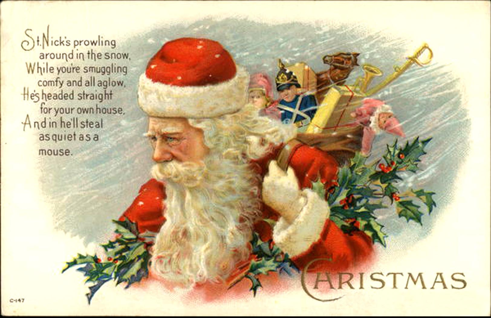 Vintage postcard (and poem) of St Nick (Santa Claus) striding through the snow with presents