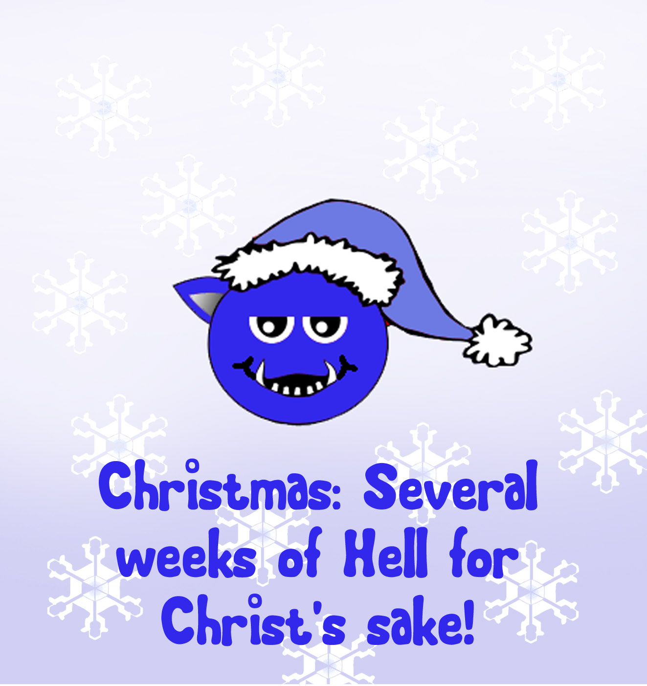 christmas greeting card with blue christmas devil and funny quote