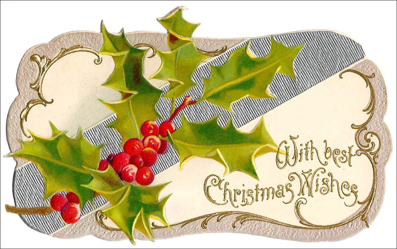 Die cut Christmas greeting card, circa 1900, with silver and holly