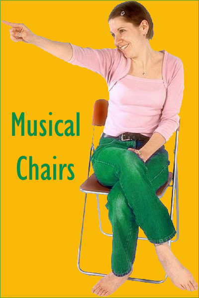 Playing musical chairs with Christmas carols and teens: Young woman on a chair.