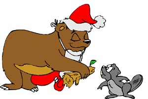 Funny Christmas Drawing: Badger getting a Christmas present by a Santa bear.