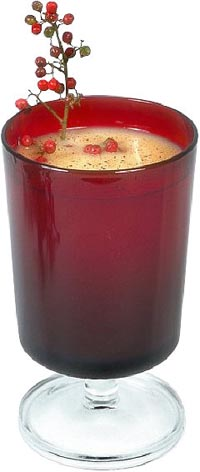 Good Christmas Sayings: Photo of eggnog in red glass.