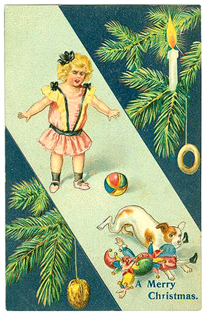 Dog stealing kids toy old christmas card